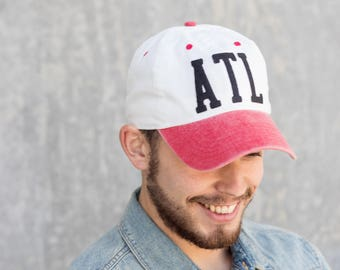 Handmade Atlanta Baseball Hat - White with Black ATL Letters and Red Bill