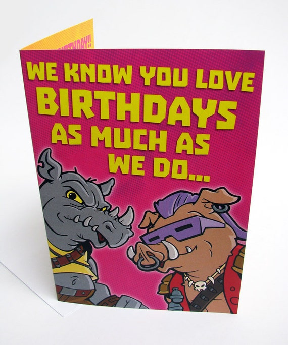 Bebop Rocksteady Tmnt Birthday Card Professional Quality Etsy