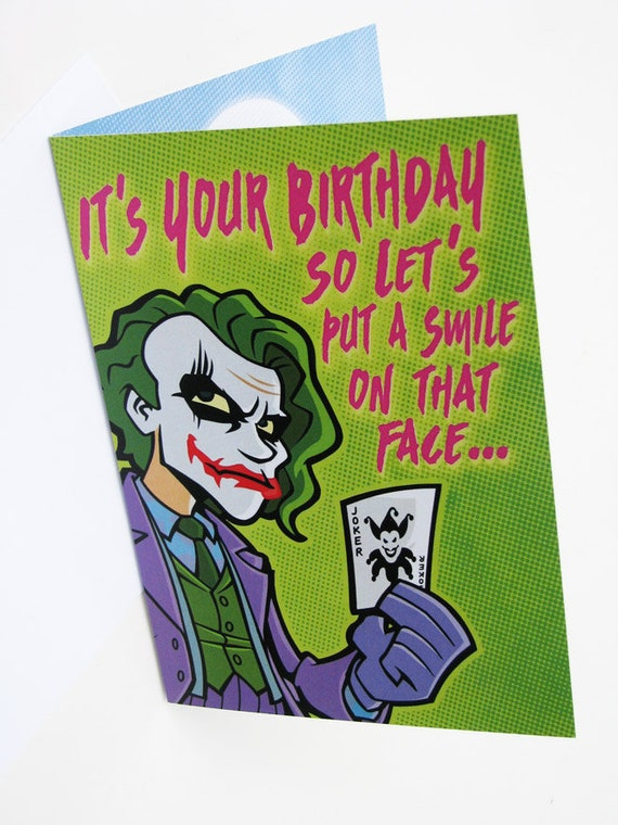 Joker Birthday Card Professional Quality The Dark Knight Etsy