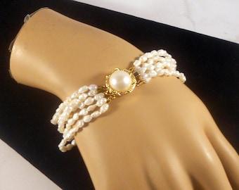 Grey// White Shades Five Strand Faux Biwa Pearl Necklace