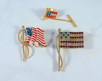 Group of American Flag Pins One Is a Tie Tack Show Your Patriotism