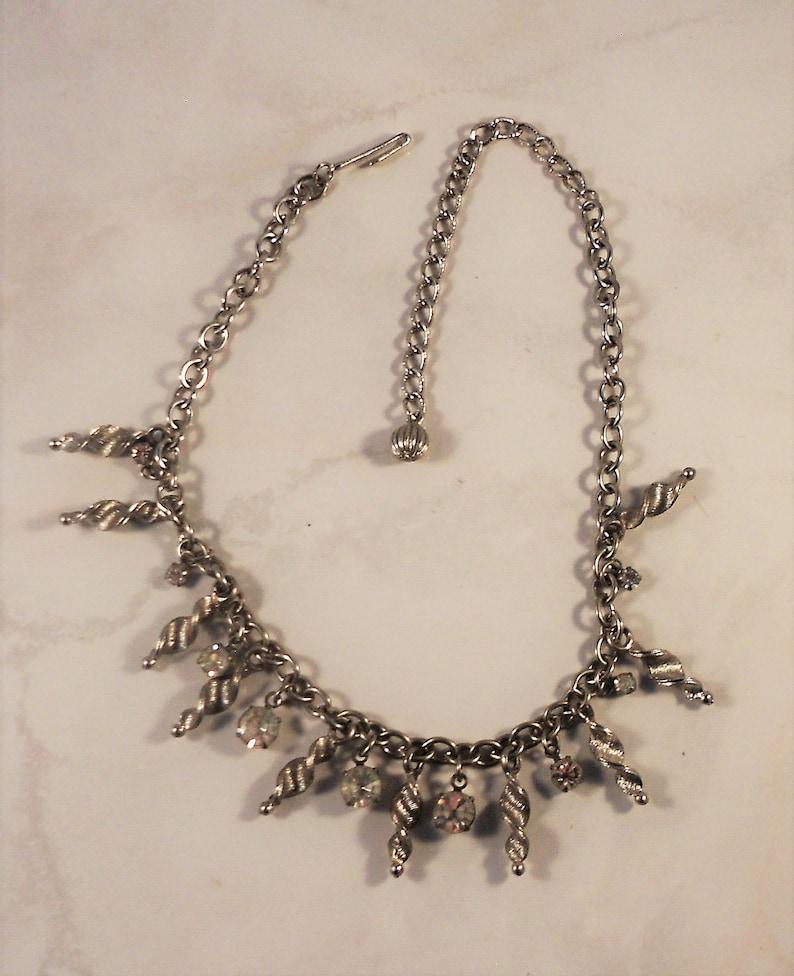 Retro Mid-Century Free Shipping Adjustable Length Sparkling Rhinestones /& Twisted Dangles Vintage Rhinestone Choker Necklace