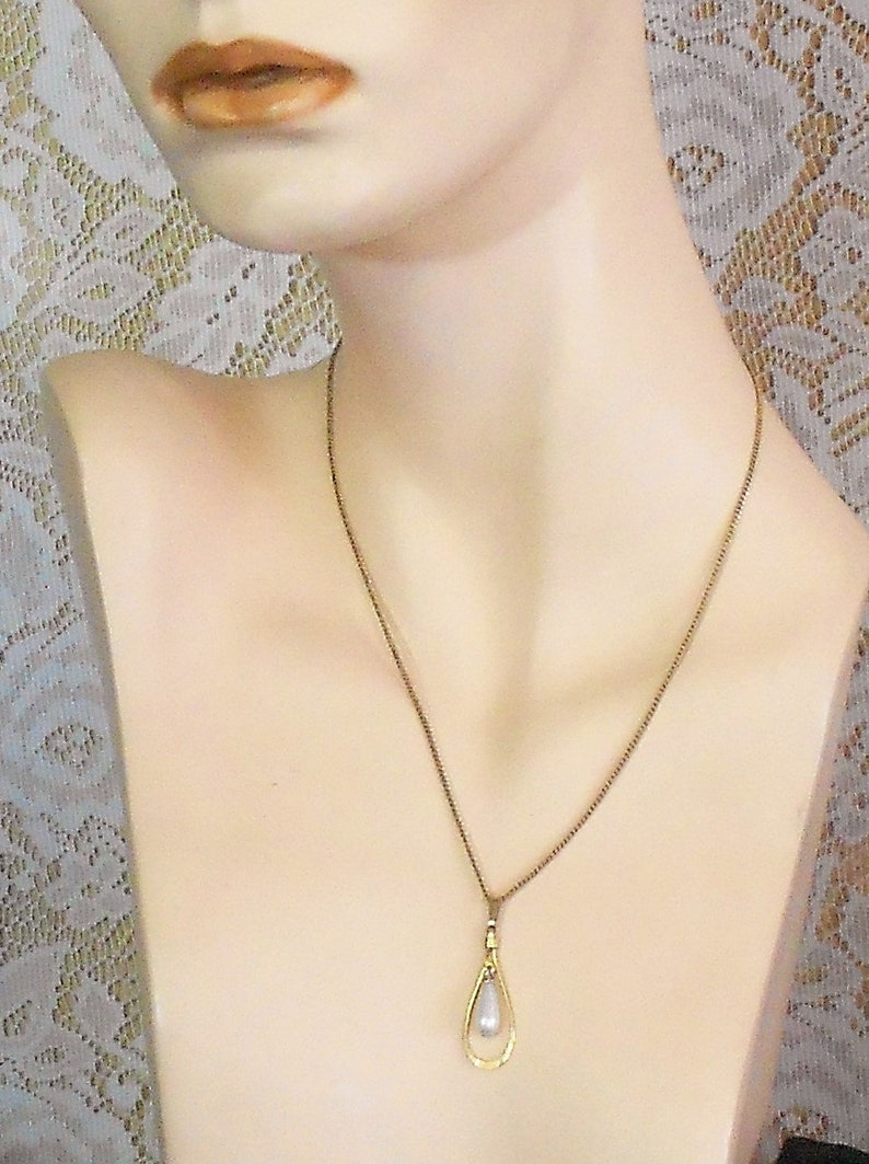 Faux Pearl Necklace with 12t Gold Filled Chain June Birthstone Pretty Feminine Free Shipping Within the USA