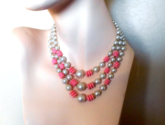 3 Strand Necklace With Red Lucite Crystal Accents In Gold Tone Free Shipping Within the USA