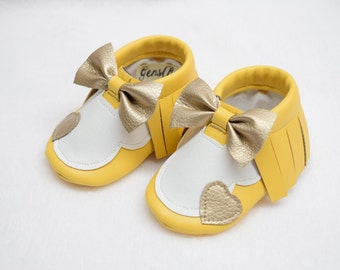 Baby Moccs, -Baby Moccasins, -Minnie Mouse Moccs, -Yellow Moccs, -Baby Shoes