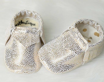 Baby moocs, -baby moccasins, -Gold Moccs, -White & Gold Moccs, -Fringe Moccs.