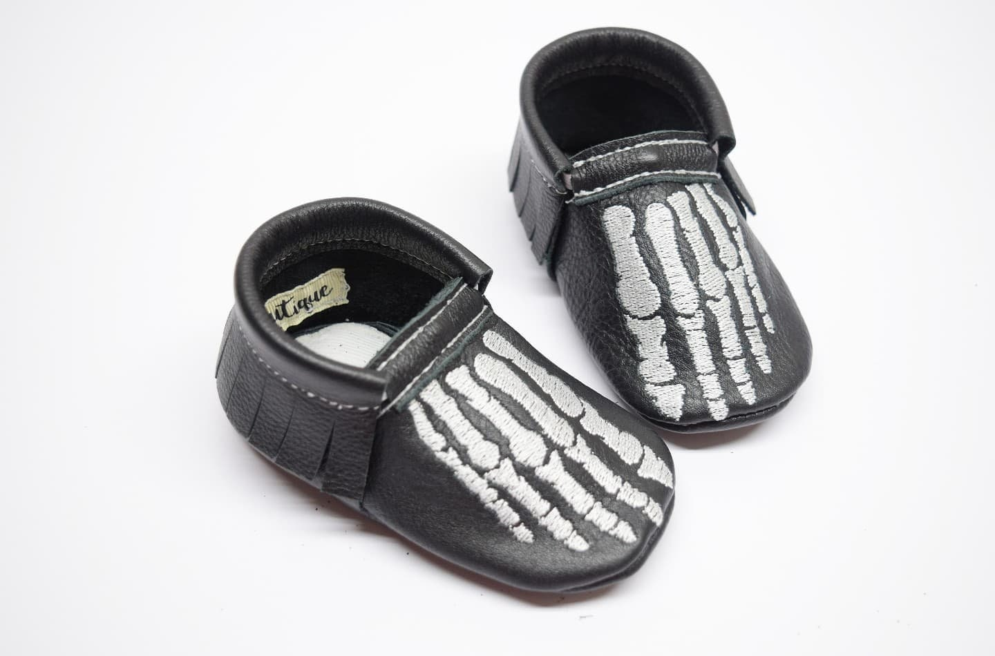 Skeleton fingers moccs, halloween moccs, baby moccs, black baby moccasins, leather moccs, black moccs, moccs, skeleton, halloween shoes, 967255