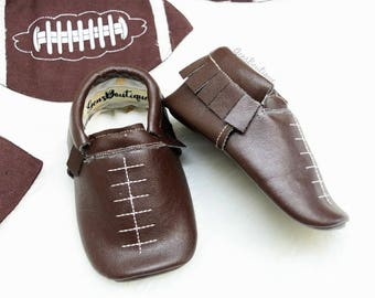 Football moccs, Football shoes, baby moccs, Baby moccasins, baby shoes
