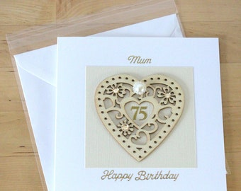 75th Birthday Card Gift Personalised Luxury For Woman Mum Mom Friend Age Cards Fyne