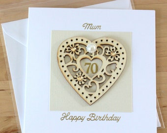 70th Birthday Card Gift Luxury Unique Wooden Heart For Woman Mum Mom Friend
