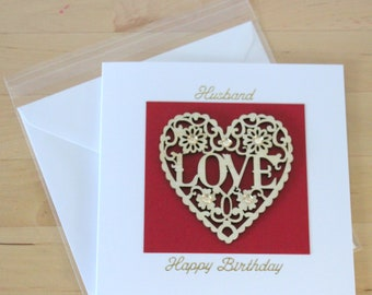 Husband Wooden Heart Anniversary Card Gift Luxury Unique Birthday