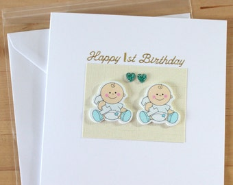 Twin Twins Cards First 1st 2nd Birthday Boys Girls Card Gift Personalised Fyne