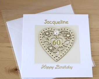 60th Birthday Card Gift For Woman Mum Mom Personalised Luxury Unique Age
