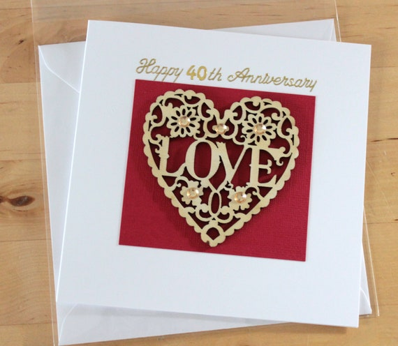 ruby anniversary card gift 40 40th anniversary card gift etsy