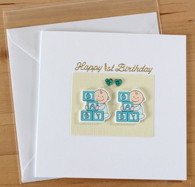 Babys Twin Boys Girls 1st Birthday Card Gift Etsy