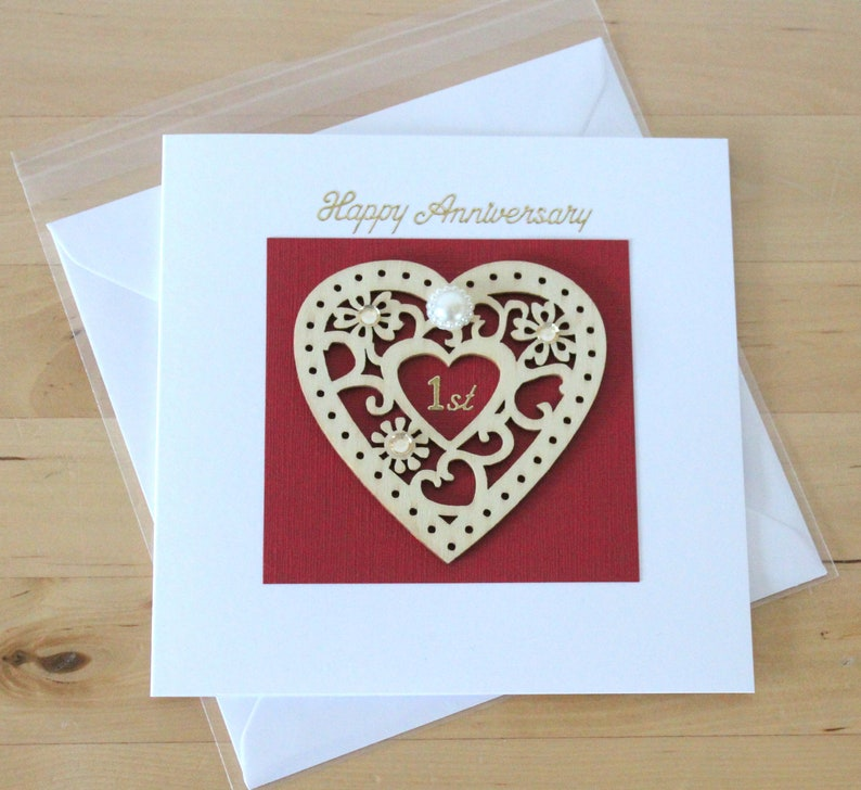 Wooden Anniversary Card gift Anniversary gift wife First 1st Anniversary card gift for husband wife couple Wooden Anniversary card gift
