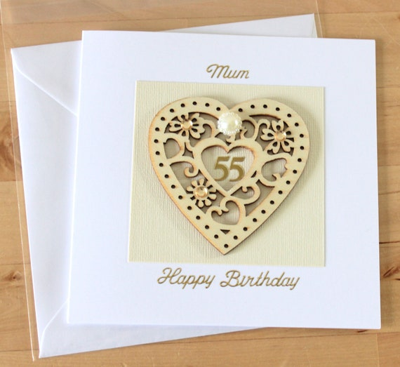 55th Birthday Card Gift Luxury Unique Wooden