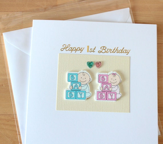 Twin Boys Girls 1st Birthday Card Gift Personalised