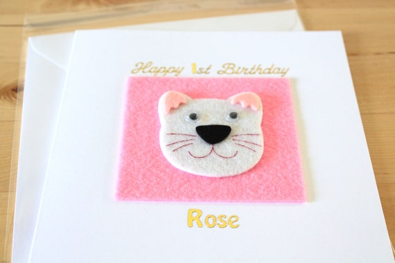 Babys Cat Dog 1st Birthday Card Gift Personalised Etsy