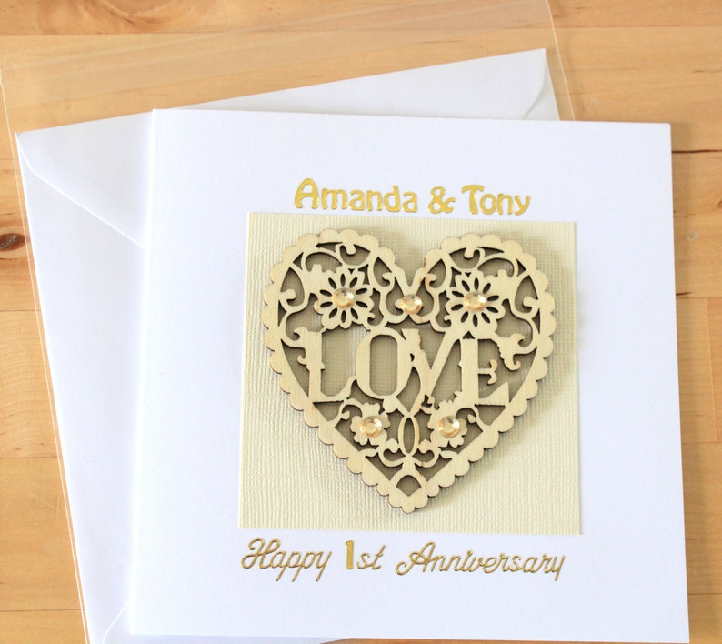 Personalised Luxury Anniversary Card gift, Personalised First 1st 2nd 3rd  anniversary card gift, anniversary card gift for husband wife