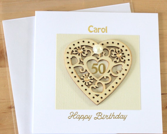 50th Birthday Card Gift Luxury Unique Wooden