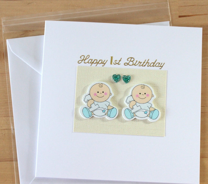 Twin Twins Cards First 1st 2nd Birthday Boys