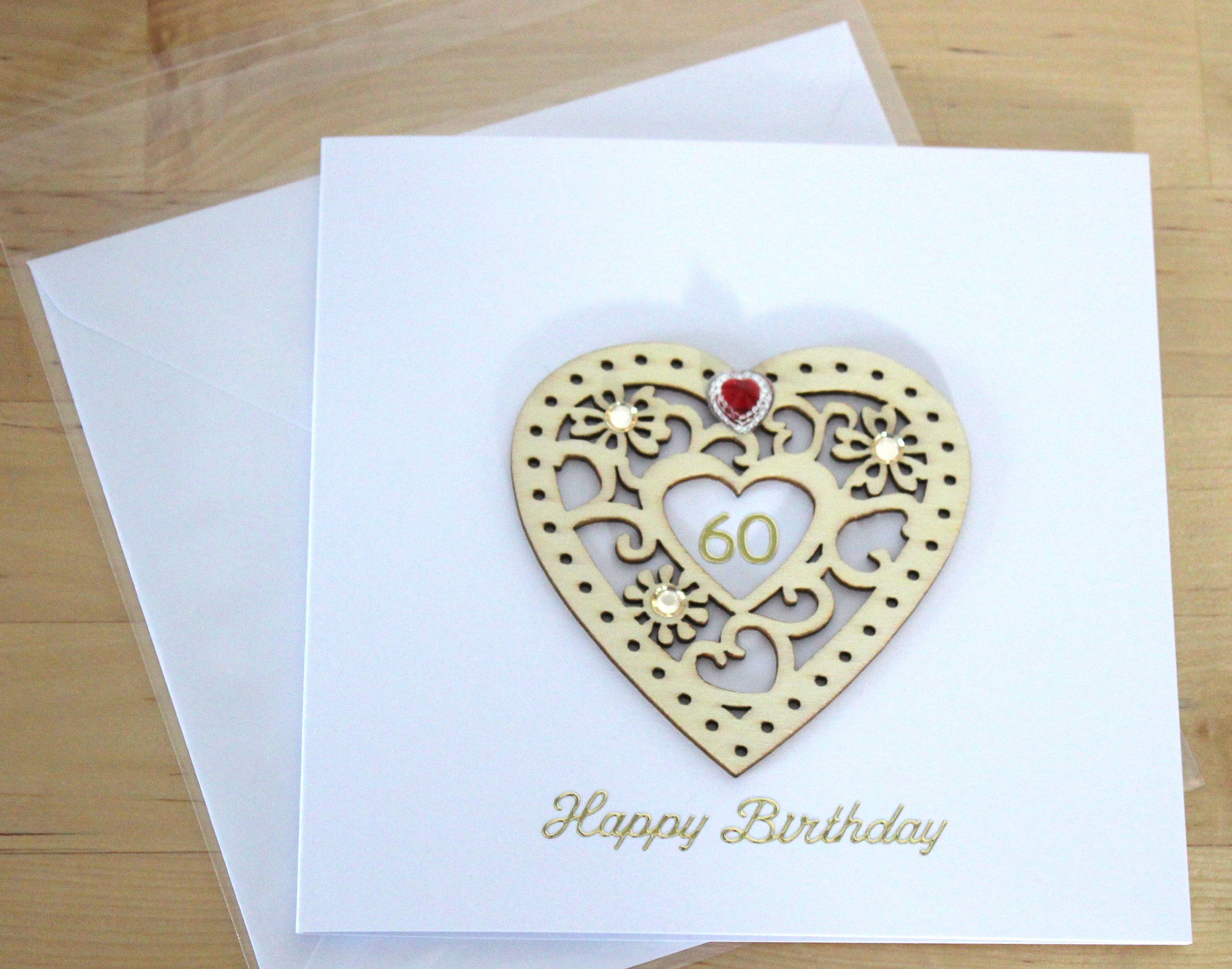 Personalised Wooden Birthday gift Heart 50th 60th 70th 80th 90th Gift