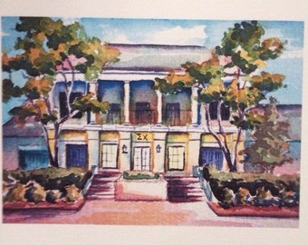 Sigma Chi Ole Miss, Eta chapter fraternity house watercolor print by Anna Nations