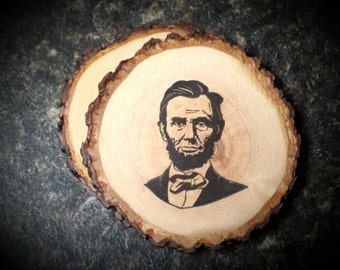Abe Lincoln Handcrafted Natural Wood Coaster Set of 2