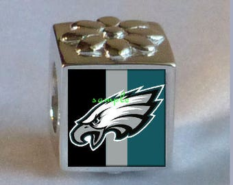 8e0e954d9 PHILADELPHIA EAGLES BEAD Charm Photo Bead Charm Sterling Silver .925 Fits  Pandora Bracelet and Bead Necklaces