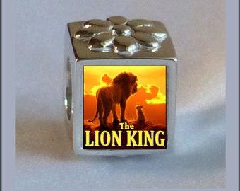 74d7e7da3 LION KING Simba & Nala Photo Bead Charm 8MM Sterling Silver .925 Fits  Pandora Bracelet