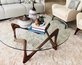 Wood And Glass Table Etsy