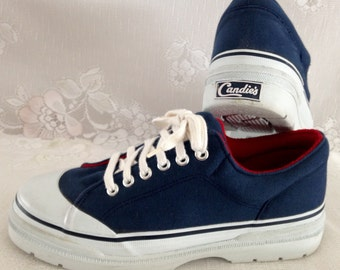 d0217e4c434b Candie s RARE Vintage 90s Chunky PLATFORM Sneakers Cap Toe Navy Blue   Red  Canvas Fabric Uppers    Women s Size 9M