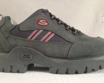 7e200c999341 Skechers Vintage 90 s CHUNKY Platfom Lace Up Sneakers Trainers Jammers  Hiking Shoes Suede Leather Gray Women s Size 9