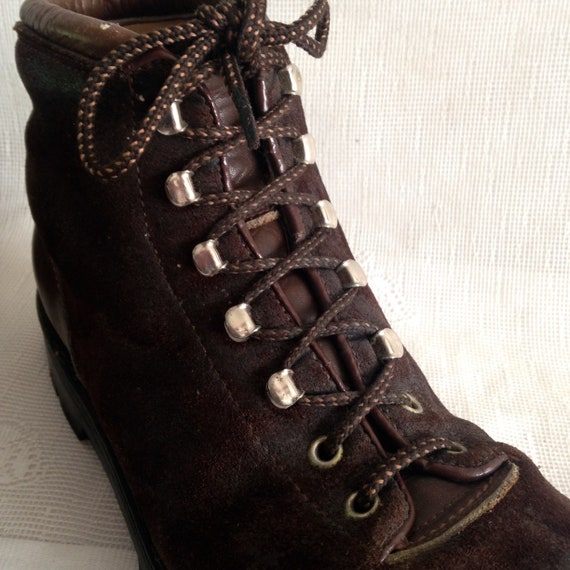 c238826c0f5 Vintage 70's Calzaturificio The Alps By Fabiano Brown Suede Leather Hiking  Trail Mountaineering Boots Women's 8.5N