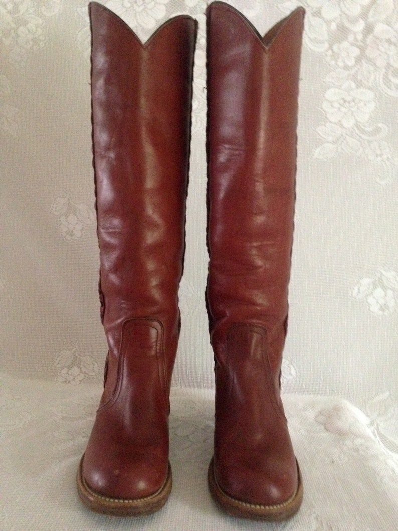 a9a768149da Vintage 70 s FRYE 8546 USA Braided Tall Knee High Leather