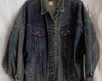 Vintage 70's LEE RIDER Denim BLUE Jean Bomber Style Jacket Trucker #153438 Men's Size Med