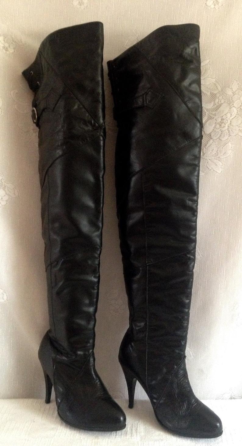 e03e8ee1776a Rare Vintage Ellie Black Leather Boots Thigh High Crotch OTK