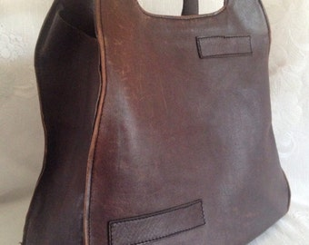 Vintage Genuine All Leather Handbag Sack Tote Top Handled Bag Made in Colombia South America Distressed  Hippie Boho
