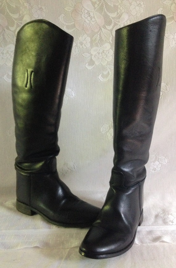 black leather riding boots size 10