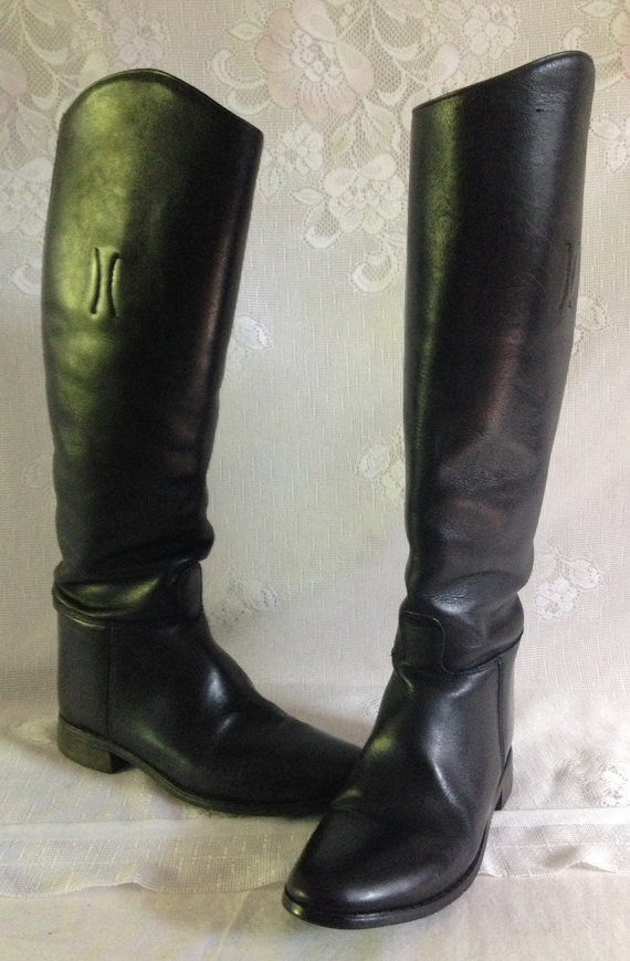 2da380c7632 Vintage 90's Black Leather Tall Knee High EQUESTRIAN English Riding Boots  Pull On Dress // Women's Size 7.5 B// Made in USA