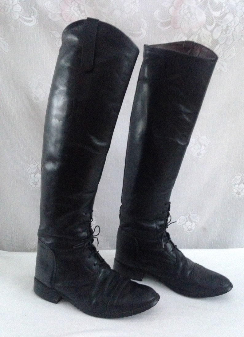 3af4a440f21 Vintage 90 s Tall Black Leather EQUESTRIAN Horse Riding