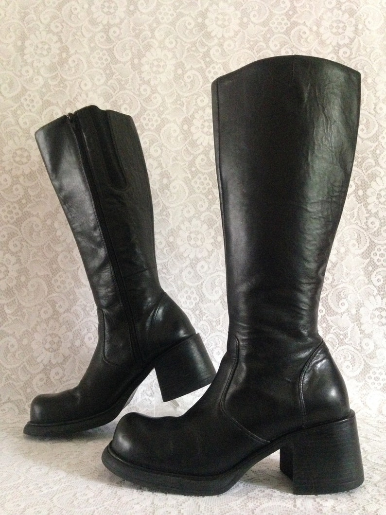 572ae0f9b40f3 Vintage 90s STEVE MADDEN Tall Knee High Platform Chunky Heel Square Toe  Boots Black Leather Square Toe Women's Size 8.5B