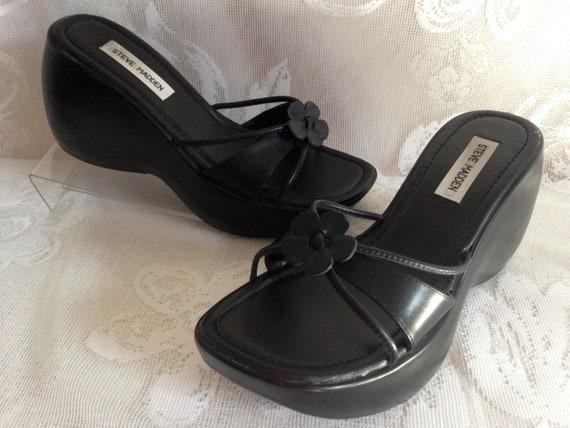 808242e65038d Vintage 90's Steve Madden Chunky Platform Wedge Sandals Black Leather