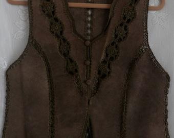 Vintage Brown Suede Leather Crochet Stitch Detailing Patch Vest Hippy Women's Size SmalL