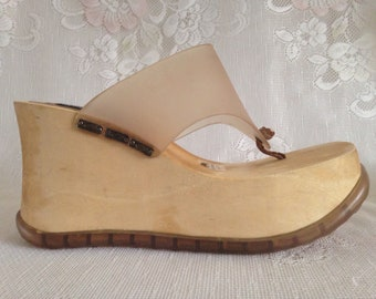 Candies Brazil Vintage 90s Chunky Wood Platform Wedge Thong Strap Sandals Women's Size 9