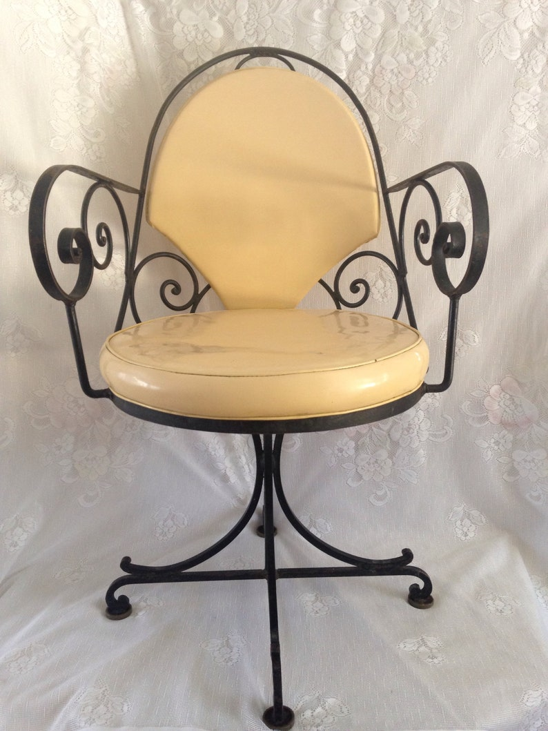 Magnificent Set Of 4 Antique 1930S Art Deco French Inspired Scrolled Wrought Iron Vinyl Swivel Dining Chairs Yellow Pick Up Only Bralicious Painted Fabric Chair Ideas Braliciousco