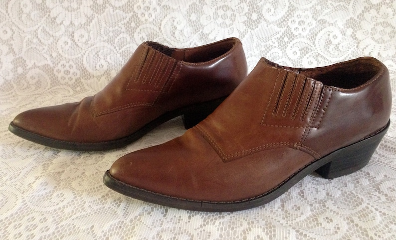 62ee95d3acd35 WILD PAIR Vintage 80's Ankle Booties Shoes Slip On Cognac Brown Leather  Women's Size 7B // Made in Brazil // Hippy Boho Festival Western