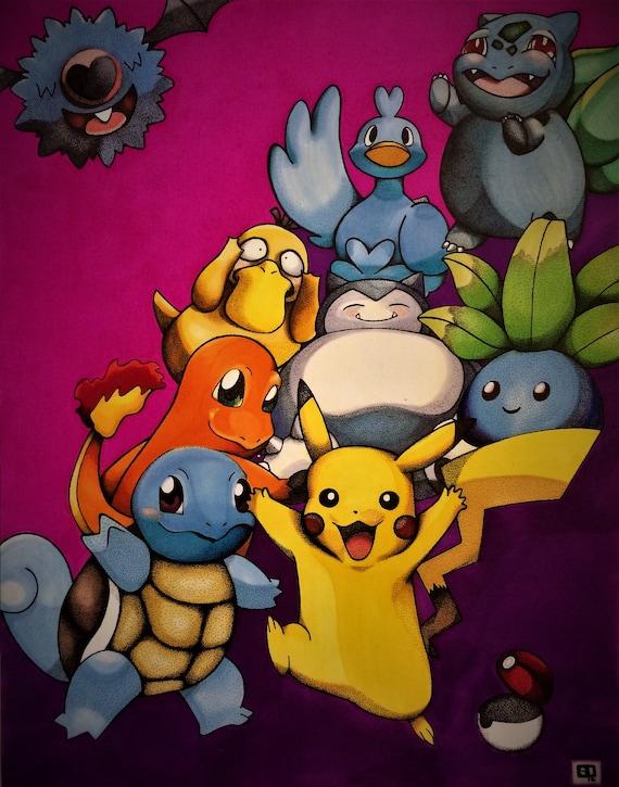 Pointillisme Pokemon Dessin Couleur Impression 11 X 17