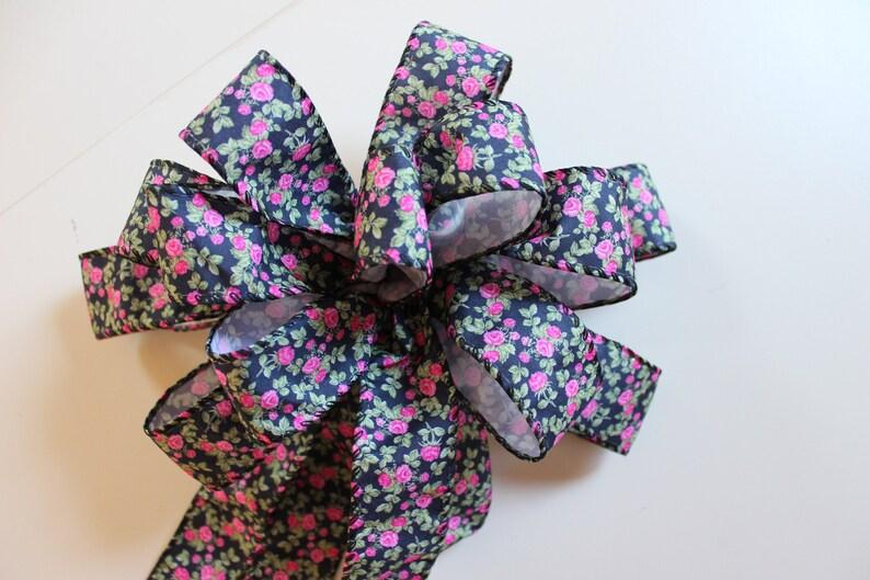 Black Floral Print BowFloral Print Ribbon